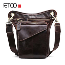 camera bag waist belt Australia - AETOO Vintage Genuine Leather Belt Bag Men's Waist Bag Leg Pouch Pack Mobile Phone Camera Organize Multi-function Casual Bags