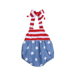 baby rompers print UK - Baby Girl Sling Rompers American Flag Independence National Day USA 4th July Summer Infant Star Stripe Print Onesies Stitching Jumpsuit