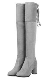 Gladiator Heel Boots Thigh High UK - Pop 2019 Sapato Feminino Women Over The Knee Boots Shoes Woman Chunky High Heels Gladiator Autumn Warm Chaussure Booties Lace Up