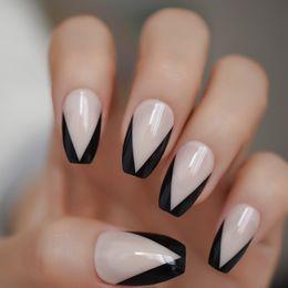 $enCountryForm.capitalKeyWord Australia - Nude Color French Nail Mixed Black V Shape Fake Nails UV Gel Polish Coffin Nails with Adhesive Tabs 24 PCS