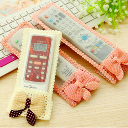 Tv remoTe covers cases online shopping - Bowknot Size TV Remote Control Case Air condition Control Cover Textile Protective Bag TV Air Condition Protector