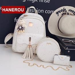 $enCountryForm.capitalKeyWord Australia - 3set pcs New Design Tassel Women Backpack Star Sequins Pu Leather Backpacks For Teenage Girls School Bag Chain Shoulder Bag MX190816
