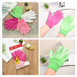 Großhandel Peeling Waschhandschuh Skin Body Bade Fäustlinge scheuern Massage-Whirlpool Finger-Handschuhe Schwamm Bad Dusche Reinigung Haut Waschlappen DHL CZ302