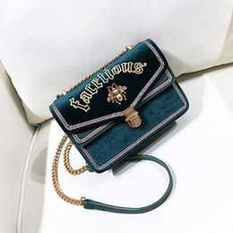 Square Chains Australia - Elegant2019 Square Small Embroidery Bees Chain Woman Temperament Joker Single Shoulder Span Package Tide