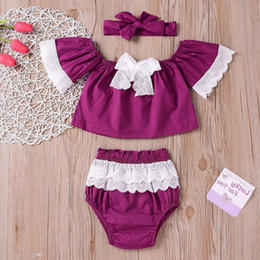 $enCountryForm.capitalKeyWord NZ - 2019 Ins Baby Girl Toddler 3piece Set Outfits Lace Off Shoulder Tank Tops Shirts Vest Shorts Pants Ruffle Tutu Bloomers Wtih Bow Headwrap