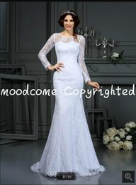 Hot Sexy White Dresses Australia - 2019 new design white lace mermaid wedding dress long sleeve sheer back sexy elegant summer beach bride dress cheap wedding gown hot sale