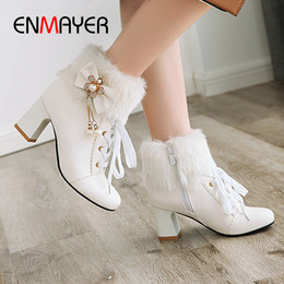 $enCountryForm.capitalKeyWord Australia - ENMAYER Pearl Round Toe Square Heel Solid Women Shoes PU Bow String Bead Lace-Up Metal Chain Pearl Pink High Boots Rhinestone