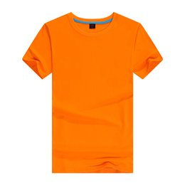 Blank t shirt orange online shopping - Cotton short sleeved men s blank T shirt solid color round collar advertising shirt custom clothing q11