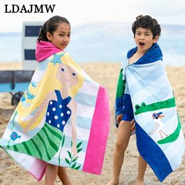 Compress Cartoon Towel Australia - LDAJMW new cartoon printing children's hooded towel cloak 76x127cm bathroom towel cotton swimming beach dry hair