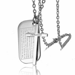 $enCountryForm.capitalKeyWord NZ - Lords prayer Jesus Bible Verse Sculpture Cross Necklace Stainless Steel Christian Immanuel Dog Tag Necklace Pendants Religion Jewelry