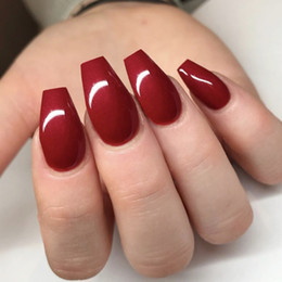 Discount pre design false nails glue Ballet Wine Red False Nail With Design Pre-design Short Round Head Fnished Nails Art Adhesive Lot With Glue 24Count