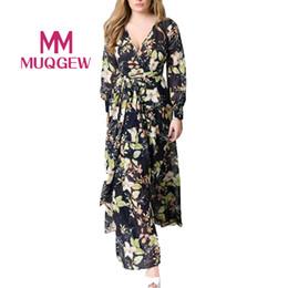 $enCountryForm.capitalKeyWord Australia - wholesale Fashion Women Dresses Loose Chiffon Floral Printing Long Maxi Dress Long Sleeve Evening Party Beach Dresses Vestidos