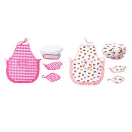 pretend kids kitchen play set UK - 4pcs Smart Cookie Chefs Apron Set Kids Chef Hat & Apron with Accessories Pretend Play Kitchen Kit for Kids Children