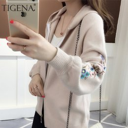 hooded knitted cardigan women NZ - TIGENA Zipper Hooded Knitted Jacket Women 2019 Autumn Winter Long Sleeve Cardigan Women Floral Embroidery Cardigan Female SH190928