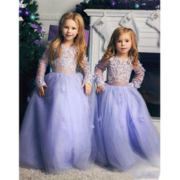 Discount vintage flower girl dresses for toddlers - Cute Lavender Flower Girl Dreses Vintage 2020 Long Sleeve Toddler Kids Pageant Gowns Appliqued Ruffles Long Party Birthd