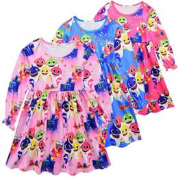 $enCountryForm.capitalKeyWord Australia - Baby Girl Clothes Baby Shark Dress Kids Designer Clothes Girls Cartoon Print Spring And Autumn Long-sleeved Dresses Cute Skirt C72304