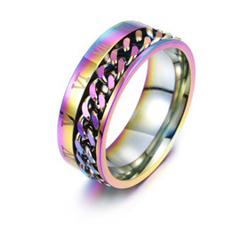 Roman Numerals Ring Wholesale Australia - Roman Numerals Rotatable Ring Stainless Steel Spin Chain Ring Band Rings Fashion Jewelry for Men Women Will and Sandy Gold Rainbow 080468