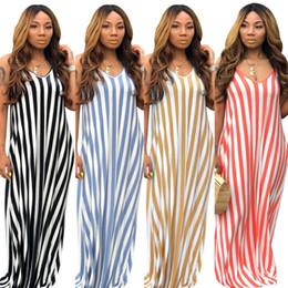 $enCountryForm.capitalKeyWord Australia - Womens sexy bra dresses maxi loose summer dress beach party evening club dress casual fashion stripe print dress klw1689