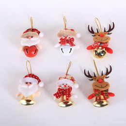 christmas bells window decorations UK - Christmas Hanging Bell Ornaments Deer Santa Cluas Snowman Hanging Decoration Xmas Tree Window Pendant Doll with Bell