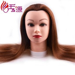 Mannequin For Hair Style Australia - Xiuyuan Factory Price Training Head With 100% Human Hair Brown Color Training Mannequin Head Styling Training Head For Hairdressers Dolls