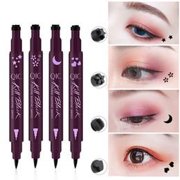 EyElinEr stamp online shopping - Stamp Eyes Liner Liquid Make Up Pencil Waterproof Black Double ended Makeup Stamps Eyeliner Pencil styles RRA1827
