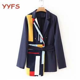 korean office suits Canada - fashion patchwork blazer Women korean style Casual Jacket With Belt women pocket elegant office lady work suit Coat Female