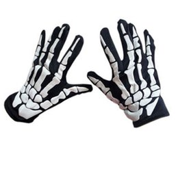Cycling Skeleton NZ - Halloween Horror Skull Claw Bone Skeleton Goth Racing Full Gloves Full Finger Gloves Unisex Women Men Motorcycle Cycling