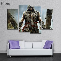 Wholesale Canvas Movie Prints Australia - Modular Pictures HD Print Unframed Canvas Paintings 4 Panel Movie Assassins Creed Character Wall For Living Room Cuadros Picture