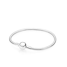 $enCountryForm.capitalKeyWord Australia - 925 Sterling Silver Smooth Clasp Bracelet Original Box for Pandora Charm Bracelets Set for Women Mens Gift Jewelry