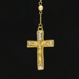 wholesale chain crosses NZ - Pendant Necklaces Jewelry Rhinestone New Exquisite Popular Hiphop hiphop Rosary Chains Beaded Cross Jesus Necklaces Gem Pendant Personaly