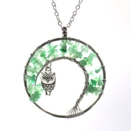 Crystal Lucky Tree Australia - 8 Color 2019 New Arrive Owl Pendant For Women Natural Crystal Stone Tree Of Life Pure Manual Winding Round Pendant Lucky Tree Necklace