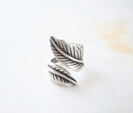 boho rings NZ - Wholesale- Kinitial 1PCS Adjustable Wide leaf Ring Boho Bague Antique Silver leaf Ring Leaves Rings for Women Fashionable Knuckle Jewelry
