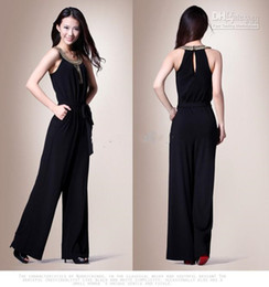 Wholesale black chiffon jumpsuit for sale – dress 2019 New Hot Sale elegant Slim Noble black jumpsuits with beaded Evening Formal Dresses