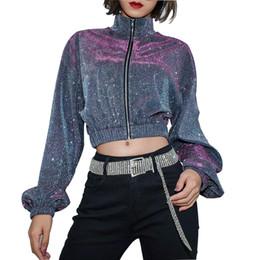 Korean turtlenecK zipper online shopping - Women Cropped Long Sleeve Korean Jackets Spring Autumn short zipper turtleneck silvery Reflector jackets Coats Mujer Streetwear