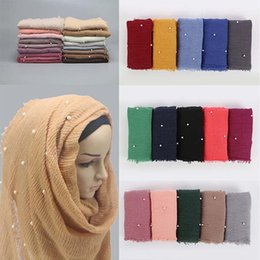 $enCountryForm.capitalKeyWord Australia - 1 Pcs Womens Bubble Cotton Beads Wrinkle Scarf Shawl Crumple Pearl Wrap Muslim Headband Viscose Winter Scarves