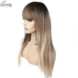 Straight Bang Ombre Australia - Women's Synthetic Wigs Kanekalon Hair Matte Ombre Long Straight Neat Bang Style Natura Wig Blonde