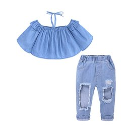 $enCountryForm.capitalKeyWord UK - 2019 Summer Girls Denim Suit Baby Casual Clothing Sets One-shoulder Shirt Denim Pants Two-piece Kids Clothing