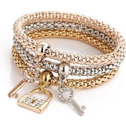 Jewelry Mosaic Sets Australia - 3Pcs Set Fashion Mosaic Cubic Zirconia Key Lock Elastic Charm Bracelets For Women Gold Color Creative Popcorn Corn Chain Jewelry