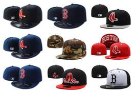 Discount flat brim cap cheap - Wholesale Cheap Red Sox Fitted Caps B Letter Baseball Cap Embroidered Team B Letter Size Flat Brim Hats Red Sox Baseball