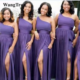 $enCountryForm.capitalKeyWord UK - Simple Design Purple Chiffon Bridesmaid Dresses Long One Shoulder Mail Of Honor Dress For Wedding Guest