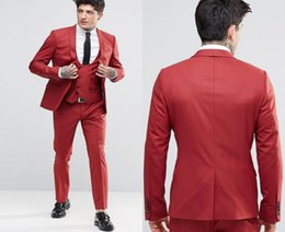 $enCountryForm.capitalKeyWord Australia - Handsome Deep Red Groom Tuxedos Shawl Lapel One Button Three Pockets Groom Suits Extremely Cool Best Man Suits (Jacket+Pants+Vest ) DH6210