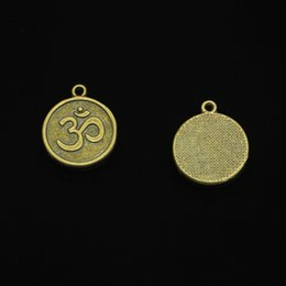 $enCountryForm.capitalKeyWord Australia - 52pcs Antique Bronze Plated Yoga OM Charms Pendants fit Making Bracelet Necklace Jewelry Findings Jewelry Diy Craft 18mm