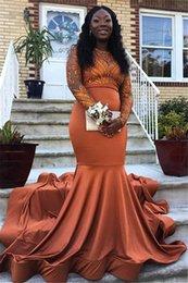 $enCountryForm.capitalKeyWord NZ - African Long Sleeves Mermaid Prom Dresses Dust Orange Lace Elastic Satin Prom Gowns Black Girls Party Dress Vestidos