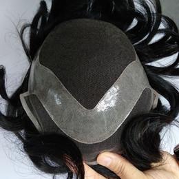 Custom full laCe human hair wigs online shopping - Hot Sell Swiss Lace Base Indian Virgin Hair Men Toupee Hair Replacement Real Human Hair Men s Toupee Custom Make