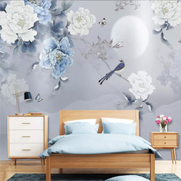Chinese  Custom 3D Wall Mural Chinese Style Peony Flowers Birds Photo Wallpaper Living Room TV Study Home Decor Classic 3D Wall Painting manufacturers