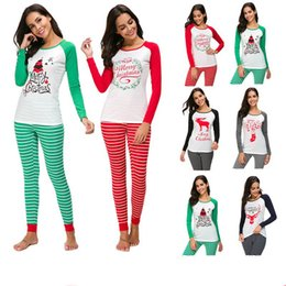 Women Christmas Pajamas Set Santa Claus Elk Print Pullover T shirt Striped  Pants Pyjamas Suit Long Sleeve Homewear Xmas Sleepwear 9b3c92b2c