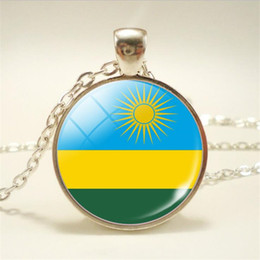 pendant cabochon Canada - New Punk Fashion Time Gem Glass Cabochon Rwanda National Flag World Cup Football Fan Pendant Necklace For Women Men Long Choker Jewelry Gift