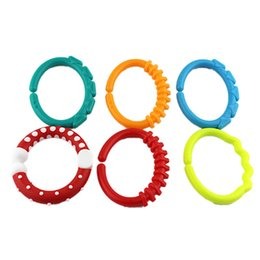 rings hand girl boy Australia - 2019 6pcs set Baby Teether Ring Stick Grasping Toys Rainbow Molar Circle Bed Handing Toy Kids Girl Boy Gifts Toys
