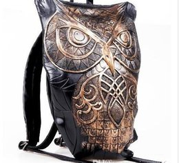 Cartoon Backpack Style Australia - Fashion men women leather 3D owl backpack style luxury unisex Metallic shell bag punk cartoon bags Chirstmas party gift