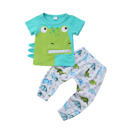 $enCountryForm.capitalKeyWord Australia - Toddler Baby Boy Short Sleeve T-shirt Tops + Printed Dinosaur Pants Outfit Set Cartoon Dinosaur Baby Boys Clothes Green 0-24M